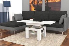 CLEO biely lesklý - rozkladací, zdvíhací, konferenčný stolík