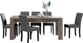 [en.casa]® Rustikálny dubový jedálenský stôl HTFU-2334 so 6 stoličkami HTMY-9703