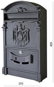 schránka poštová, 255x405x90mm, čierna