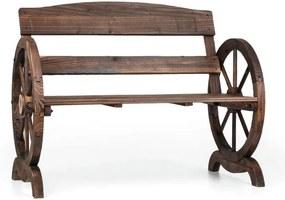 Blumfeldt Ammergau, záhradná lavica, drevená lavica, kolesá voza, jedľové opaľované drevo, 108x65x86cm