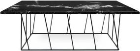 Čierny mramorový konferenčný stolík s čiernymi nohami TemaHome Heli×, 120 cm
