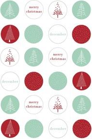 Bloomingville Vianočné nálepky Lucia - 24 ks