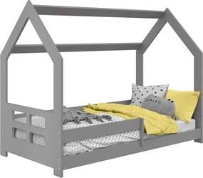 AMI nábytok Detská posteľ DOMČEK D5D 80x160cm masív sivá