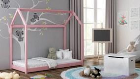 Detská posteľ Domček 160x80 ružová