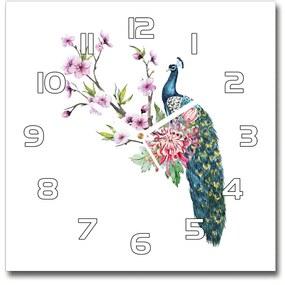 Sklenené hodiny štvorec Páv a kvety pl_zsk_30x30_f_137329257