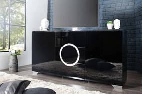Dizajnový TV stolík Vault čierny vysoký lesk