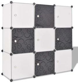 Úložná skrinka v tvare kocky s 9 priehradkami, čierno-biela