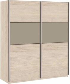 TEMPO KONDELA Graphic Typ 2 2D šatníková skriňa s posuvnými dverami dub arizona / sivá
