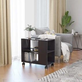 vidaXL Príručný stolík lesklý sivý 70x35x55 cm drevotrieska