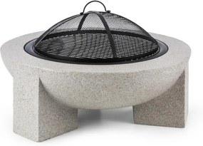 Blumfeldt Troja, kameninové ohnisko, priemer 75 cm, grilovací rošt, oceľ, pálená magnézia