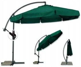 Zelený záhradný slnečník so stojanom 350 cm