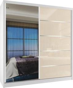 Šatníková skriňa biela 158 cm s béžovými dverami s ozdobnými pásikmi a zrkadlom - Bez dojezdu