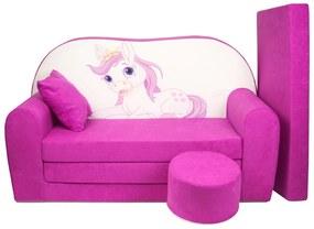 Detská pohovka veľká pony fialová