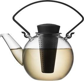 QDO Sklenená čajová kanvica Tea for U čierna