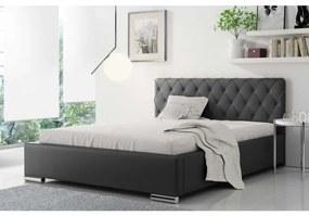 Čalúnená manželská posteľ Piero 120x200, čierna eko koža