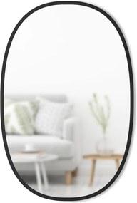 Oválne nástenné zrkadlo v čiernom kovovom ráme Umbra Hub