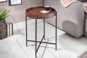 IIG -  Bočný stolík ELEMENTS 43cm odnímateľný podnos z bukového dreva Mocha