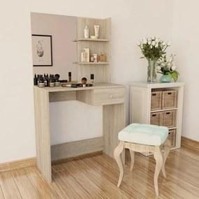 Toaletný stolík, drevotrieska, 75x40x141 cm, dubová farba