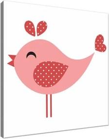Obraz na plátne Veselý ružový bodkovaný vtáčik 30x30cm 3075A_1AI