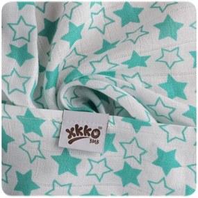 XKKO Bambusová zavinovačka 120x120 Little Stars Turquoise - potlač (1ks)