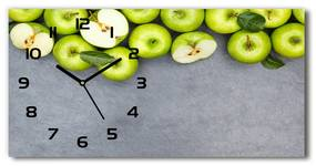 Sklenené hodiny na stenu tiché Zelená jablká pl_zsp_60x30_f_177833879