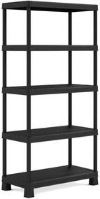 KIS PLUS 75/5 regál 75x32x177cm, 5 políc, čierny