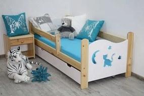 OVN Detská posteľ MICKA 70x160 biela-borovica +rošt