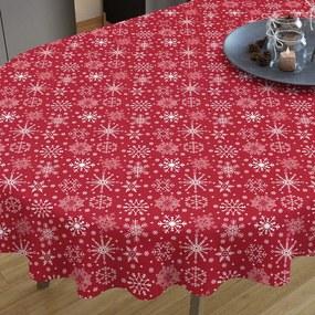 Goldea vianočný bavlnený obrus - vzor snehové vločky na červenom - oválny 140 x 280 cm