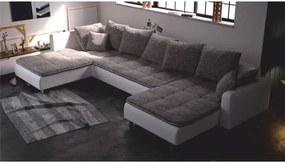 TEMPO KONDELA Rohová sedacia súprava, ľavé prevedenie, ekokoža biela/látka berlin sivá, VULKANO
