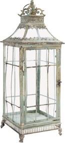 Šedá kovová lampáš s patinou - 25 * 25 * 70 cm