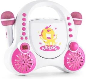 Auna Rockpocket, biely, detský karaoke systém, CD, AUX, 2 x mikrofón, sada nálepiek