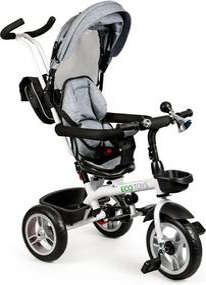 ECOTOYS Detská trojkolka s rotačným sedadlom GRAY