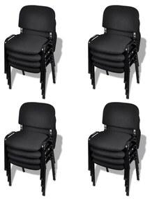 vidaXL Stohovateľné kancelárske stoličky, 16 ks, látkové, čierne