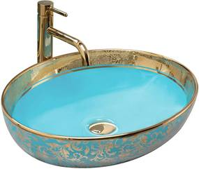 REA Margot umývadlo, 52 x 40 cm, zlatá / modrá, REA-U8709