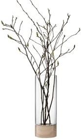 LSA Lotta sklenená váza/svietnik jaseň/číre sklo, 62cm, Handmade