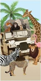 Plážová osuška s potlačou Good Morning Jeep Jungle, 75 x 150 cm