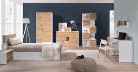 MEBLINE Systémový nábytok IWA 9 Biely / Zlatý dub