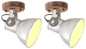 vidaXL Industriálne nástenné / stropné lampy 2 ks strieborné 20x25 cm E27