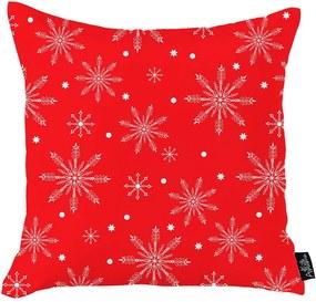 Červená vianočná obliečka na vankúš Mike & Co. NEW YORK Honey Christmas Snowflakes, 45 x 45 cm