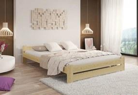 Posteľ s matracom a roštom HERA, 200x200 cm, prírodný-lak