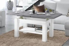 ASTORIA betón / biela, rozkladacia, zdvíhací konferenčný stôl, stolík