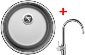 Set Sinks ROUND 450 V matný + batéria VITALIA