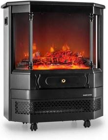 Klarstein Castillo, čierny, elektrický kozub, halogénová simulácia ohňa