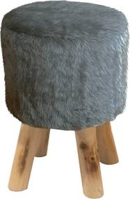 Taburet, sivá kožušina/borovica, ALPIA