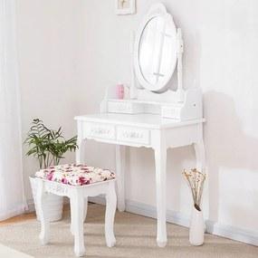 DomTextilu Kvalitný toaletný stolík s otáčacím zrkadlom a stoličkou 14392 Biela