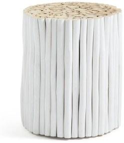 Biely taburet z teakového dreva La Forma Filippo, ⌀ 35 cm
