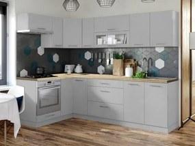 Rohová kuchyňa Emilia mat ľavý roh 243x143 cm (sivá mat)
