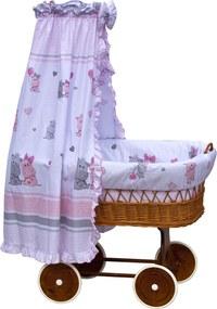 Proutěný košík na miminko s nebesy Scarlett Pupis - růžová