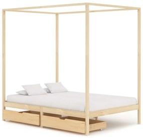 vidaXL Posteľný rám, baldachýn, 2 zásuvky, borovicový masív 140x200 cm