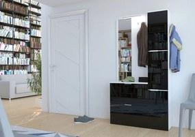 Praktická predsieňová stena Lenka so zrkadlom - biela + lesklá čierna - LED osvětlení na poličky